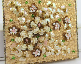Vintage 1950s Embellished Mirrorred Compact Hand Sewn Glass Beads MOP Goldtone Collectible