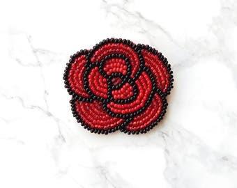 Brooch beaded red  Made in Ukraine  brooch handmade Flower red flower brooch beaded flower