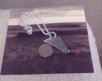 Beach treasure seawashed glass shard pendant and chain