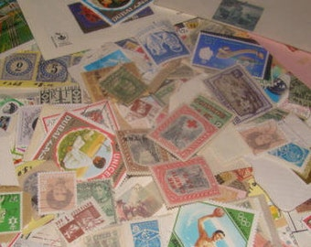 100 Vintage Postage Stamps 50's 60's and 70's