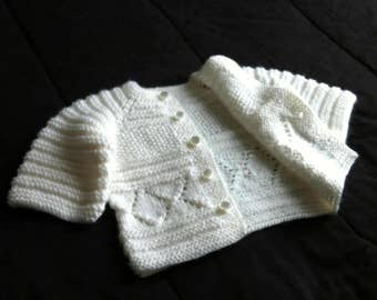 Handmade knit white baby boy cardigan