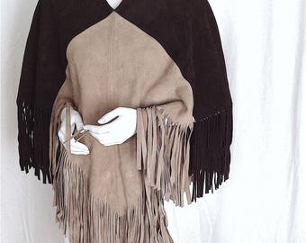 Festival BOHEMIAN Color Block FRINGE PATCHWORK Suede Poncho - Hippy Boho Woodstock Relic From the Flamboyant Near Glam Era 1970s - Rock On!