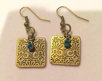 Copper stamped earrings