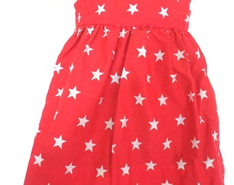 Twinkle star! Handmade dress, Baby dress, Toddler dress, Girls dress, Starry dress, Red dress, Navy dress, Children's clothing, Party dress,