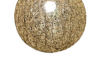 "Hemp sphere pendant light. Rustic pendant lamp, hemp lighting fixture. Ball shadow lamp. Bedroom light fixture. Ceiling lamp. (40cm-16"")"