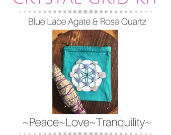 Healing Crystal Grid Kit to Manifest Peace and Tranquility