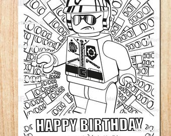 Lego Birthday Coloring page / Printable / Digital / Party favor / Instant download
