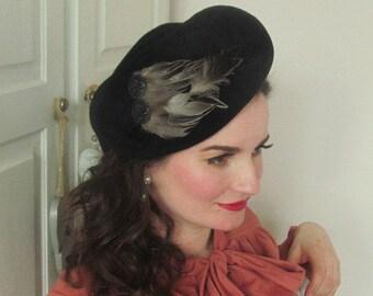 Vintage Inspired Black Velvet Felt Hat