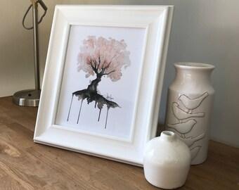 Digital Print, Cherry Blossom Tree Watercolour Painting