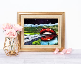 Pop Art - Pop Art Lips - Lips Print - Pop Art Print - Pop Art Poster - Pop Art Lips Poster - Train print - Train poster - Wall art