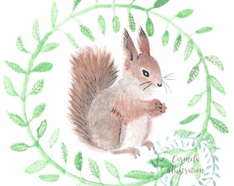 Watercolour squirrel woodland animal painting, Nursery decor artwork