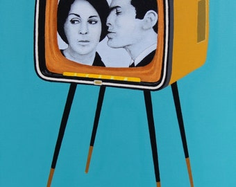 """Original Acrylic Painting Wall Art Pop Art 24"""" x 30""""x 1 1/2"""" Stretched Canvas Frame Blue Retro Television"""