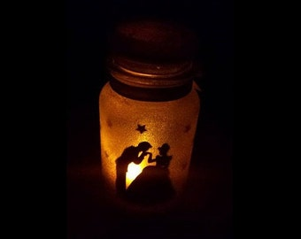 Disney Cinderella Inspired Fairy Silhouette Lantern Candle Nightlight Jar