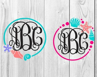 Seashell Monogram Digital Design, SVG Cutting File, Seashells, Beach Monogram, Seashell Monogram, Summer Monogram SVG, Beach SVG