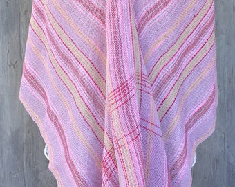 Shawl made in Spain, Shawl woven by hand in a weaving loom, Shawl original and unique, Shawl lilac and rose