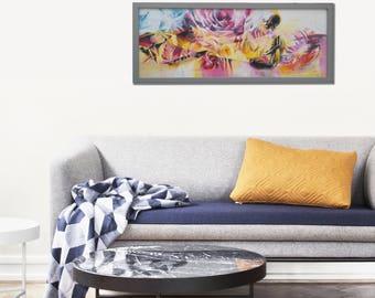 Meditation Artwork, Romantic Painting, Desert Painting, Abstract Flowers, Abstract Painting, Gift for Her, Landscape Painting