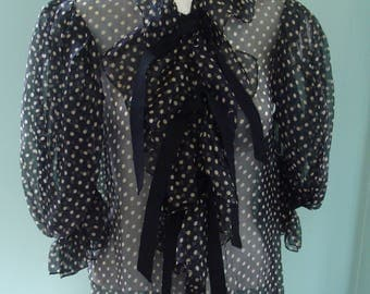 Yves Saint Laurent Polka-Dot Frilly Black and Off-White Blouse