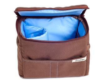 Stock-Taking SALE!! Padded Insert - DSLR Camera Case - Camera Bag Partition - Protection Case - Photo Bag Insert - JuCase Brown/Blue