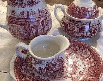 Royal Tudor Ware. Pink china. Coaching Taverns. Pink and white milk jug. Sugar bowl.