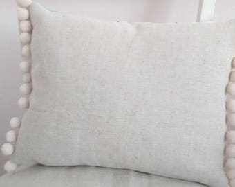Handmade cushion cover French Linen Natural Beige Vintage Style with pompom trim