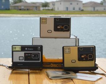 Vintage Camera LOT of 3 Kodak disc 4000, Kodak disc 8000 and Ansco disc HR 30