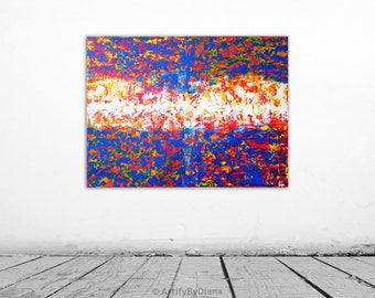 "Original Acrylic Painting on Large Canvas - 60x80cm (24""x32"") - Modern Abstract Wall Art - Handmade Contemporary Home Decor - Multicolor Art"