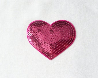 1x sequins pink glitter purple shiny heart patch love burlesque Iron On Embroidered Applique