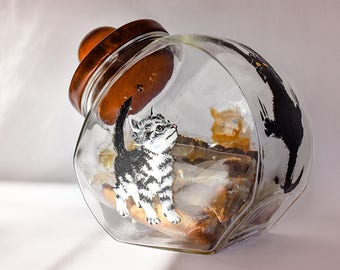 Cats Cookie Jar Hand Painted Cookie Jar Glass Cookie Jar Decorated Glass Classic Cookie Jar Home Decoration Kitchen Gift Kitty Mother's Day