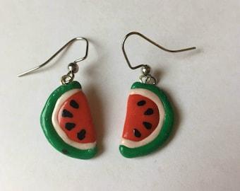 Watermelon clay earrings