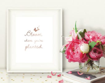 Printable Wall Art, Bloom Where You're Planted, Rose Gold, Instant Download, Springtime Art, Butterfly, 8x10