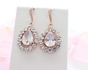 Wedding earrings rose gold, cubic zirconia, bridal earrings, crystal drop errings, wedding jewelry, bridal jewelry, vintage style earrings