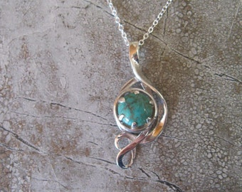 Hand made sterling silver turquoise pendant
