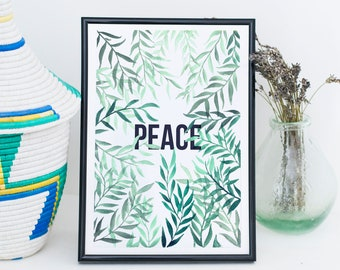 Watercolour Print // Leaves & Peace, Patience or Joy // Hand painted // Digital Print // Wall Art