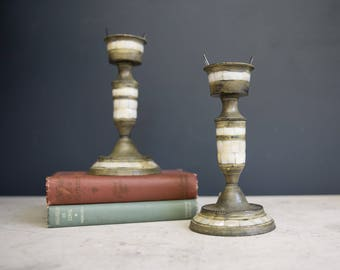 Pair of Mother of Pearl Candlesticks