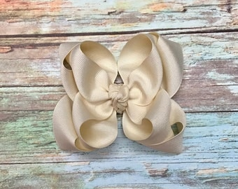 """5"""" Double Ivory Inverted Style Hair Bow"""