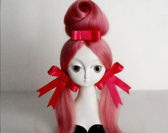 "Blythe wig set ""Tropézienne"" in candy floss pink soft baby mohair by Yatabazah"