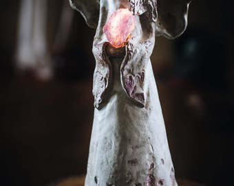 "Angel hand modelled ceramic table lamp ""Amethyst"""