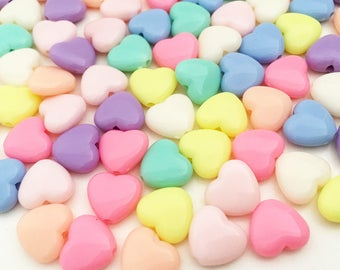 8mm Pastel heart Beads - Assorted Colors Small Beads Resin Jewelry Making Craft Supplies