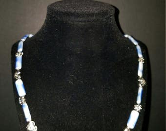 "22"" Strand Vintage German Pressed Glass 18x7mm Marbled Blue & White Beads"
