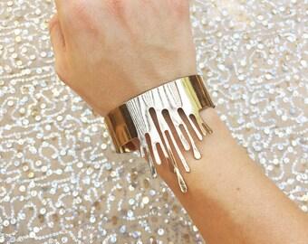 Drippy Trippy Gold Cuff Bracelet