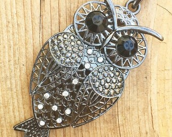Vintage Owl Necklace, Long Chain