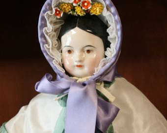 Reproduction 1860's Straw Bonnet with silk ribbon trim