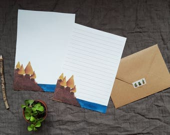 Illustrated stationery (set of 4) + envelopes kraft - a forest at the edge of the water.