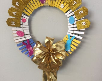 Easter Wreath with Shiny Gold Bow