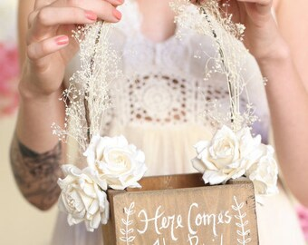 Here Comes The Bride Rustic Flower Girl Basket by Steven and Rae (Item Number MMHDSR10004) Barn Wedding Baby's Breath Paper Roses