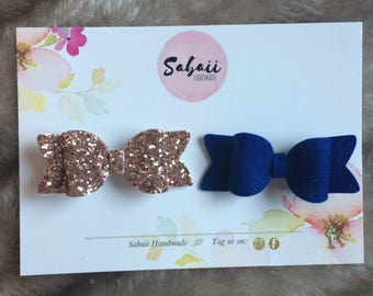 Blue and gold girls hair bows, sparkly glitter hair bows, 100% wool felt bows, handmade hair accessories, gifts for girls, baby headbands