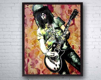 Guns n Roses Poster, Guns and Roses Art, Slash, Slash Art, Axl Rose, Hard Rock, Rock Bands, Guitar Player, Rock Prints, Slash Original Art