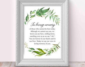 Loving Memory Sign, Wedding Memory Table Sign, 2 Sizes, Memorial Sign, Rememberance Sign, Printable Decor, Instant Download,Digital, Julieth