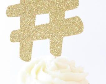 Hashtag Cupcake Topper - Hashtag Topper - Cupcake Topper - Cake Topper - Gold Cupcake Topper - # - HashTag