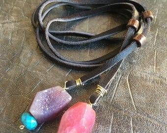 Leather lariat wrap with copper accents and druzy gemstone drops